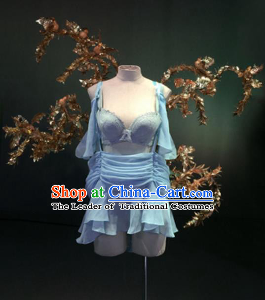 Top Grade Models Show Costume Blue Bikini Dress Stage Performance Compere Clothing and Wing for Women