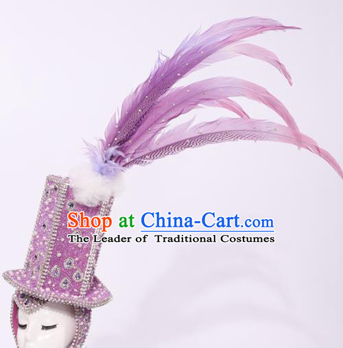 Top Grade Stage Performance Clothing Models Show Brazilian Rio Carnival Samba Purple Feather Headwear for Women