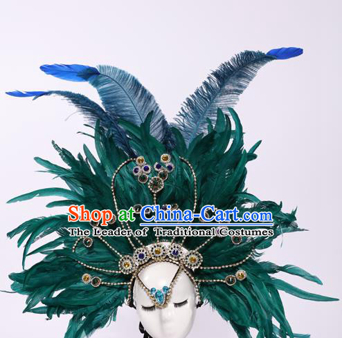 Top Grade Stage Performance Clothing Models Show Brazilian Rio Carnival Samba Green Feather Headwear for Women