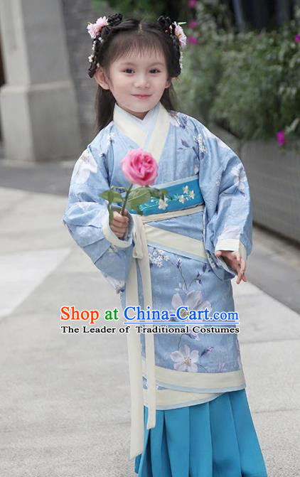Chinese Ancient Han Dynasty Princess Costumes Children Embroidered Hanfu Blue Curving-Front Robe for Kids