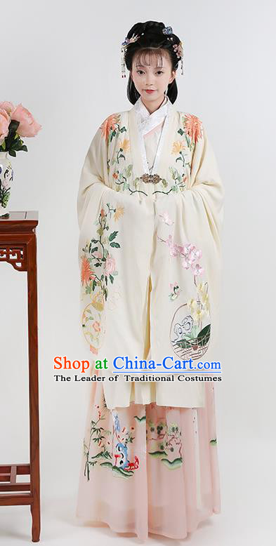Chinese Ancient Ming Dynasty Palace Princess Hanfu Dress Embroidered Costumes Complete Set for Women