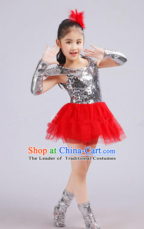 Top Grade Children Catwalks Costume Jazz Dance Stage Performance Red Dress for Kids