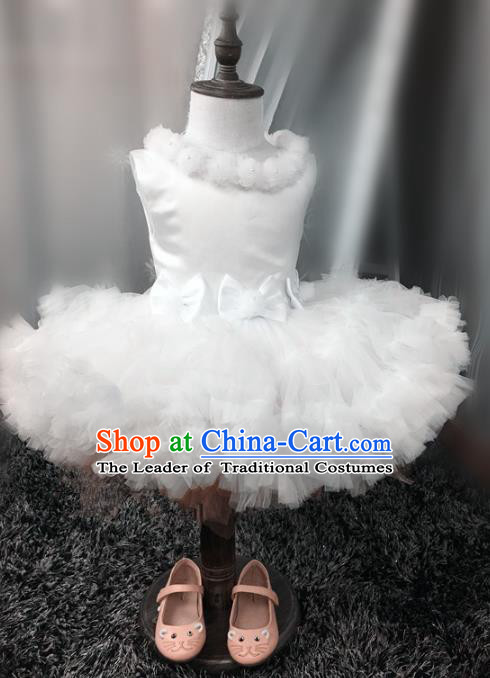 Top Grade Children Compere Catwalks Costume Modern Dance Stage Performance White Dress for Kids