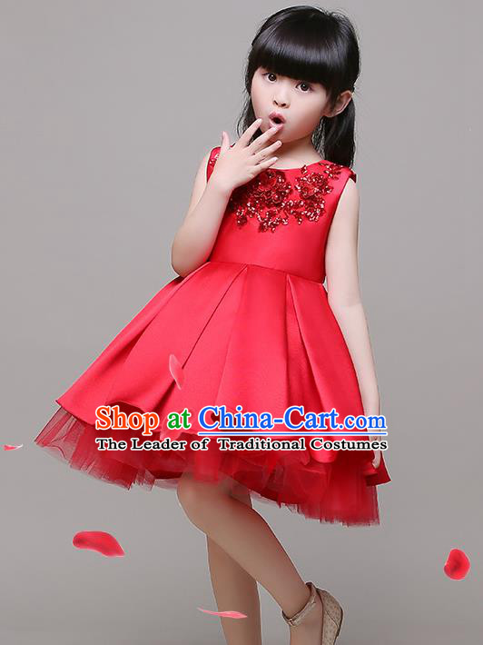 Top Grade Children Catwalks Costume Modern Dance Stage Performance Red Bubble Dress for Kids