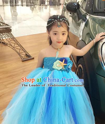 Top Grade Children Catwalks Costume Modern Dance Stage Performance Blue Veil Bubble Dress for Kids