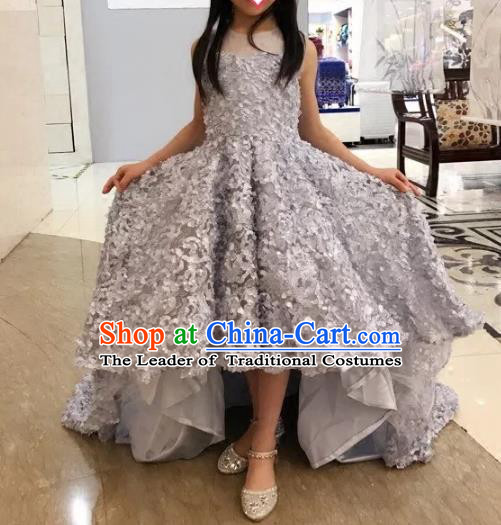 Children Models Show Compere Costume Girls Princess Grey Mullet Dress Stage Performance Clothing for Kids