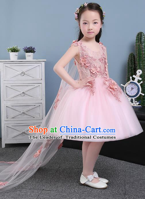 Children Models Show Costume Compere Pink Full Dress Stage Performance Clothing for Kids