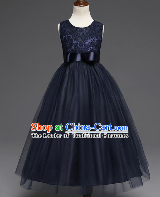 Children Models Show Costume Compere Navy Lace Full Dress Stage Performance Clothing for Kids