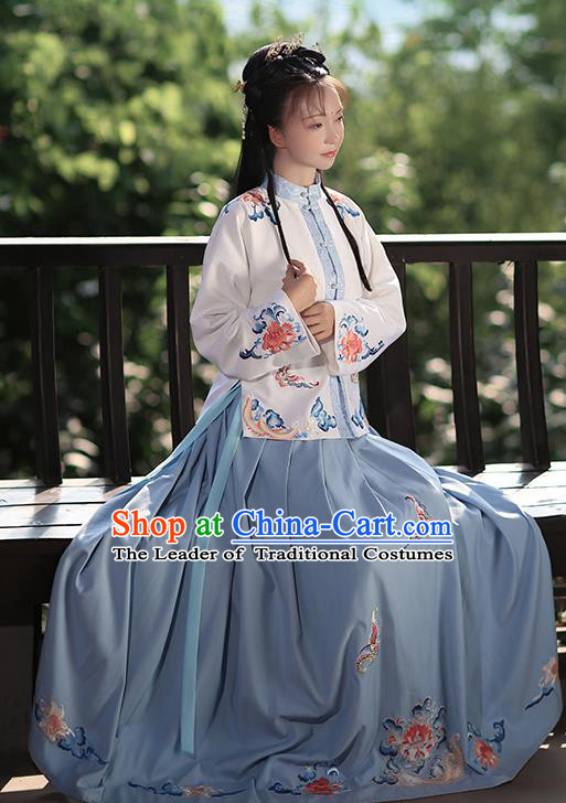 Traditional Chinese Ming Dynasty Palace Lady Costume Ancient Nobility Lady Embroidered Hanfu Dress for Women