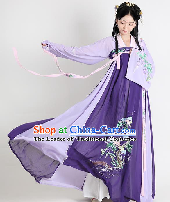 Traditional Chinese Tang Dynasty Embroidered Costume Ancient Princess Hanfu Dress for Women