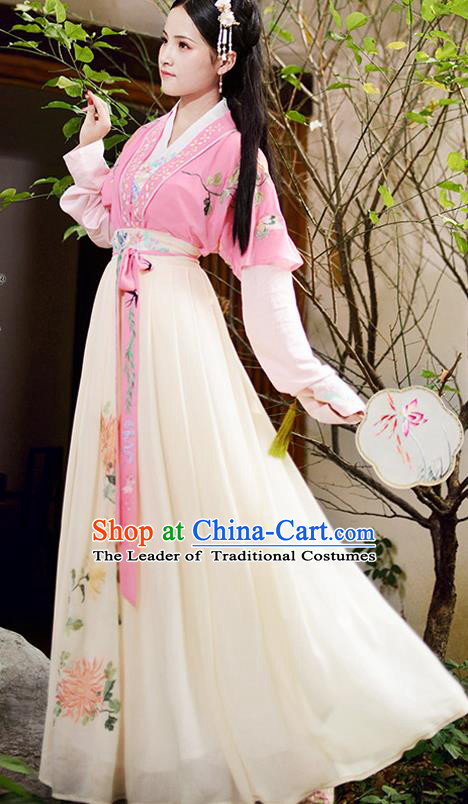 Chinese Ancient Ming Dynasty Palace Princess Embroidered Costumes Complete Set for Women
