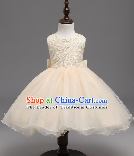 Children Flower Fairy Costume Modern Dance Stage Performance Catwalks Compere Champagne Lace Backless Dress for Kids