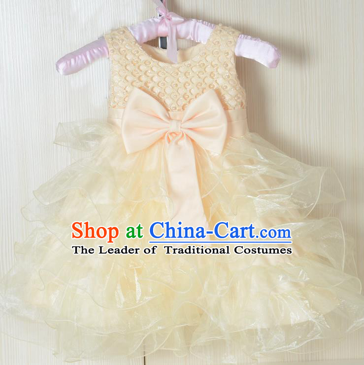 Children Fairy Princess Yellow Bubble Dress Stage Performance Catwalks Compere Costume for Kids
