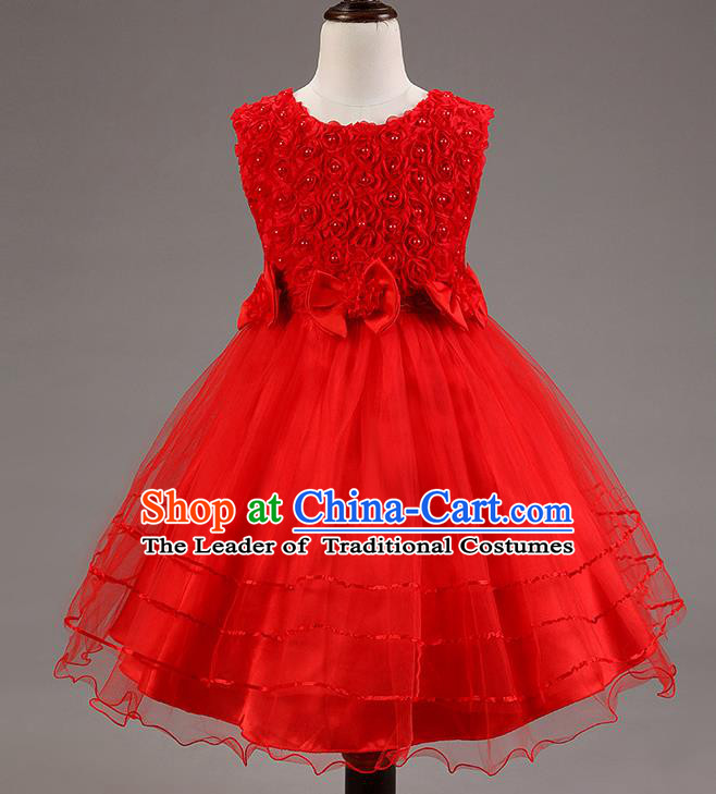 Children Modern Dance Red Dress Stage Performance Catwalks Compere Costume for Kids