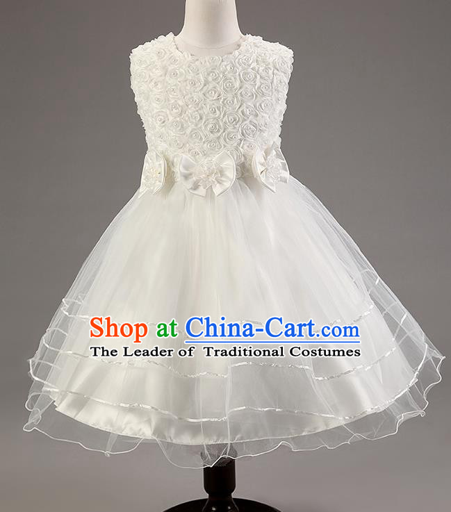 Children Modern Dance White Dress Stage Performance Catwalks Compere Costume for Kids