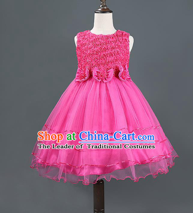 Children Modern Dance Rosy Dress Stage Performance Catwalks Compere Costume for Kids