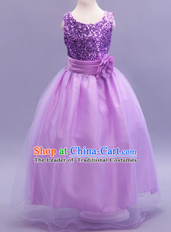 Children Modern Dance Purple Sequins Dress Stage Performance Catwalks Compere Costume for Kids