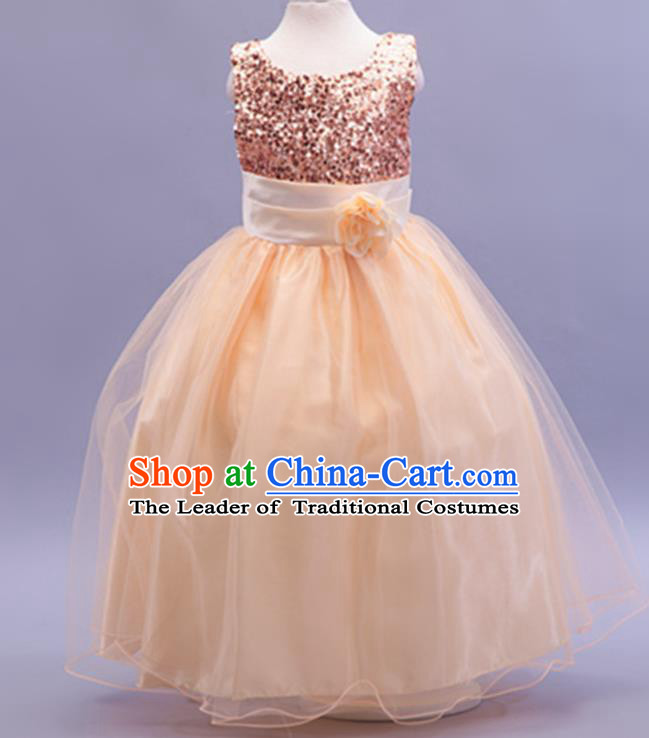 Children Modern Dance Champagne Sequins Dress Stage Performance Catwalks Compere Costume for Kids