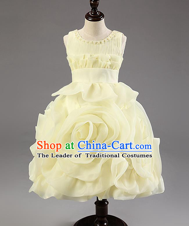 Children Modern Dance Princess Dress Stage Performance Catwalks Compere Yellow Rose Costume for Kids