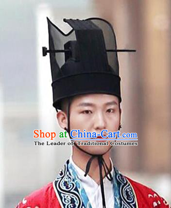 Chinese Ancient Minister Wedding Hat Tang Dynasty Bridegroom Headwear for Men