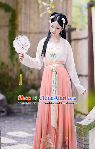 Chinese Song Dynasty Palace Lady Hanfu Dress Ancient Maidenform Embroidered Costumes for Women