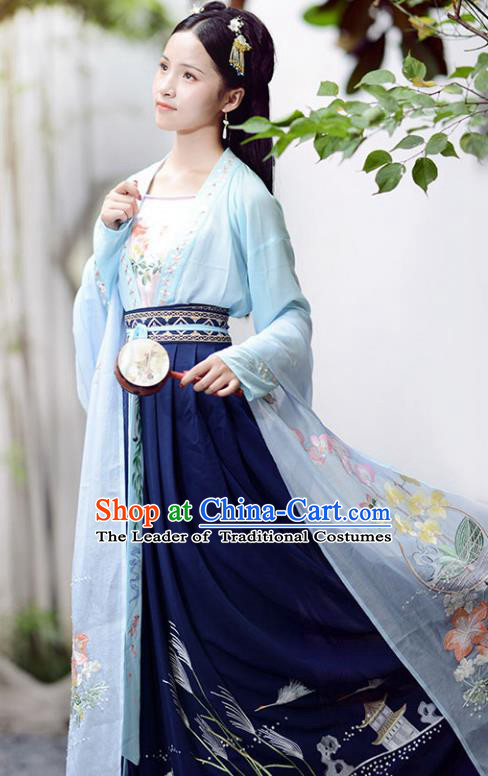 Chinese Song Dynasty Princess Hanfu Dress Ancient Maidenform Embroidered Costumes for Women