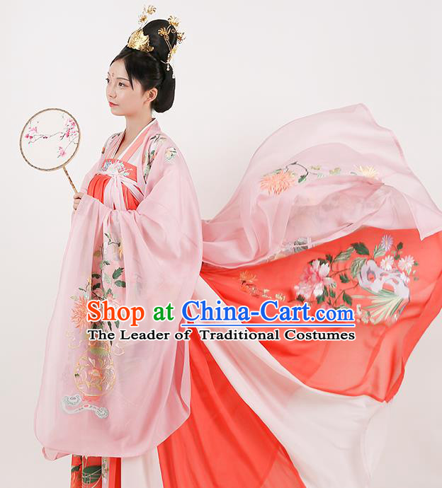 Chinese Tang Dynasty Imperial Consort Hanfu Dress Ancient Maidenform Embroidered Costumes for Women