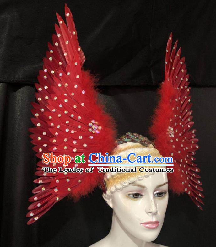Brazilian Rio Carnival Dance Red Ostrich Feather Hair Accessories Dionysia Samba Catwalks Headdress for Women