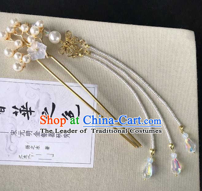 Chinese Traditional Hair Accessories Tassel Step Shake Ancient Crane Hairpins for Women