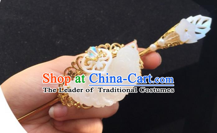 Chinese Traditional Ancient Prince Hair Accessories Swordsman Hairpins Jade Tuinga for Men
