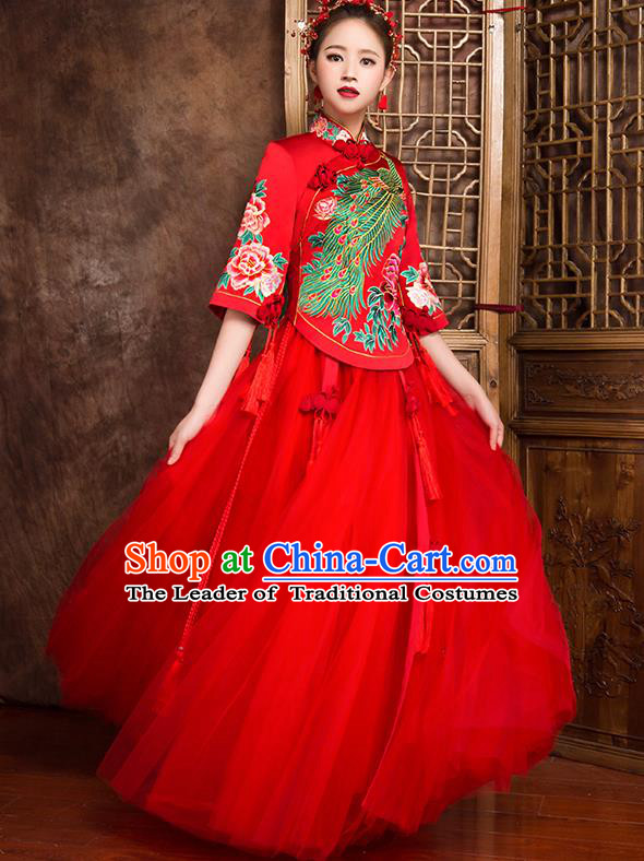 Traditional Chinese Bridal Costumes Ancient Bride Wedding Embroidered Phoenix XiuHe Suit for Women