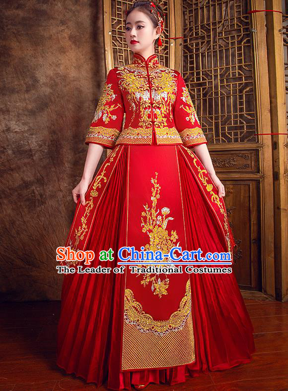 Traditional Chinese Bridal Costumes Ancient Bride Red Toast Clothing Wedding Embroidered Diamante XiuHe Suit for Women