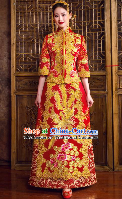 Traditional Chinese Bridal Costumes Ancient Bride Red Toast Clothing Wedding Embroidered Diamante Phoenix XiuHe Suit for Women