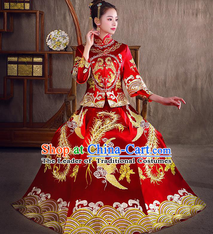 Traditional Chinese Bridal Costumes Ancient Bride Red Longfeng Flown Toast Clothing Wedding Embroidered Phoenix XiuHe Suit for Women