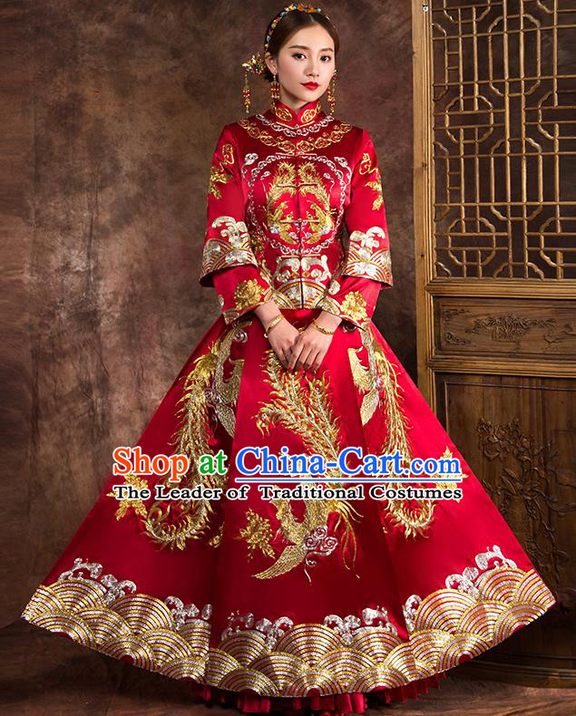 Traditional Chinese Female Wedding Costumes Ancient Red Embroidered Phoenix Full Dress XiuHe Suit for Bride
