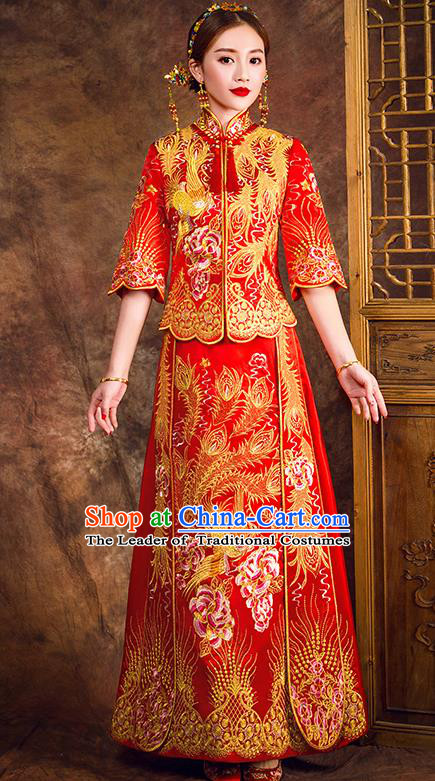 Traditional Chinese Female Wedding Costumes Ancient Embroidered Peony Full Dress Red XiuHe Suit for Bride