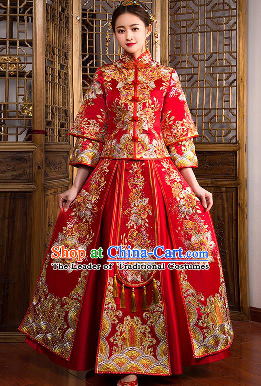 Traditional Chinese Female Wedding Costumes Ancient Embroidered Peony Diamante Full Dress Red XiuHe Suit for Bride