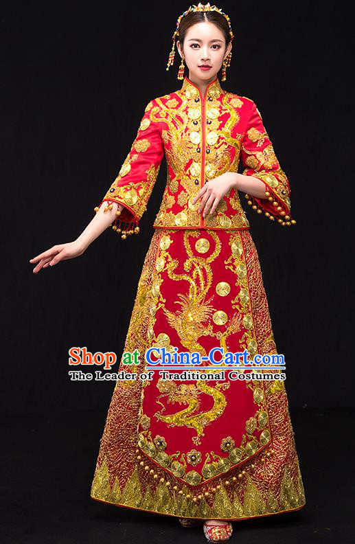 Traditional Chinese Female Wedding Costumes Ancient Embroidered Dragon Phoenix Red Full Dress XiuHe Suit for Bride