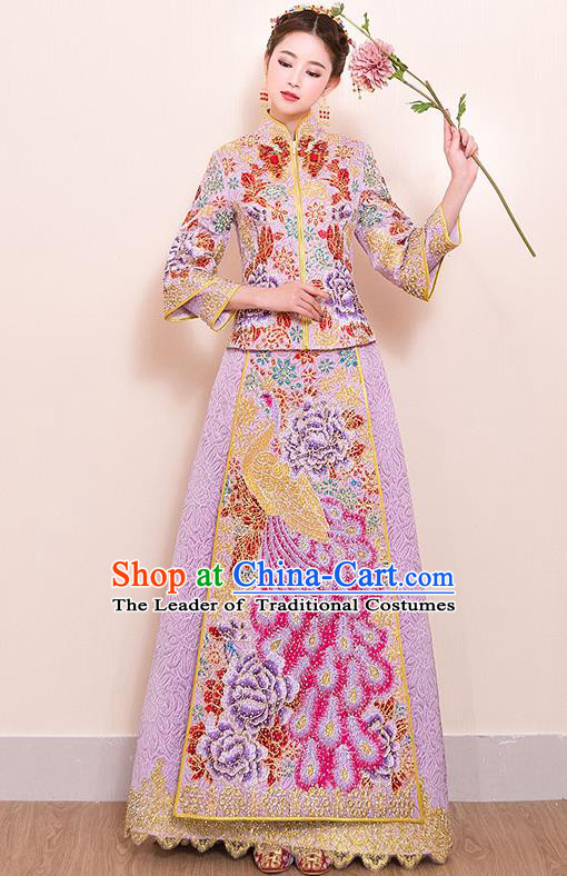 Traditional Chinese Style Female Wedding Costumes Ancient Embroidered Phoenix Pink Full Dress XiuHe Suit for Bride