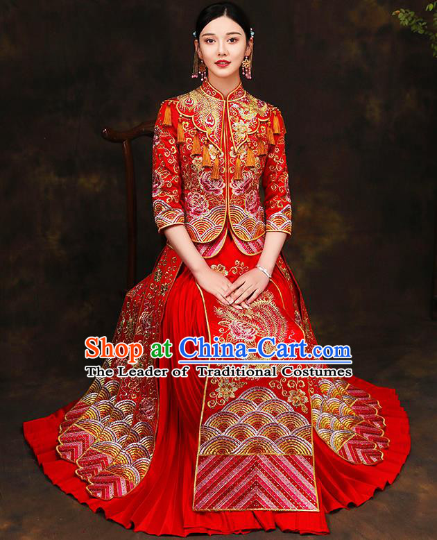 Traditional Chinese Style Female Wedding Costumes Ancient Embroidered Phoenix Peony Red Full Dress XiuHe Suit for Bride