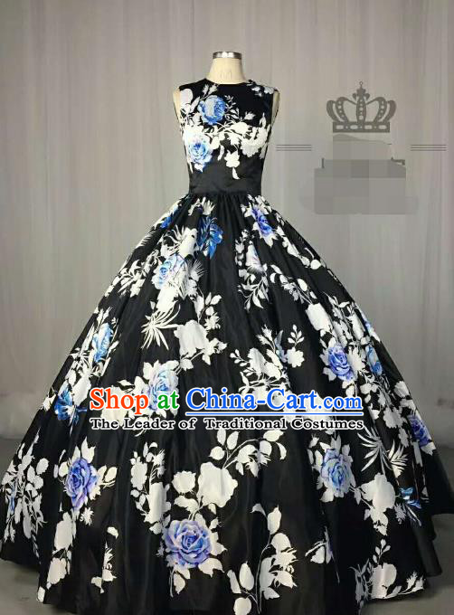 Top Grade Chinese Catwalks Costume Stage Performance Printing Black Full Dress Brazilian Carnival Clothing for Women