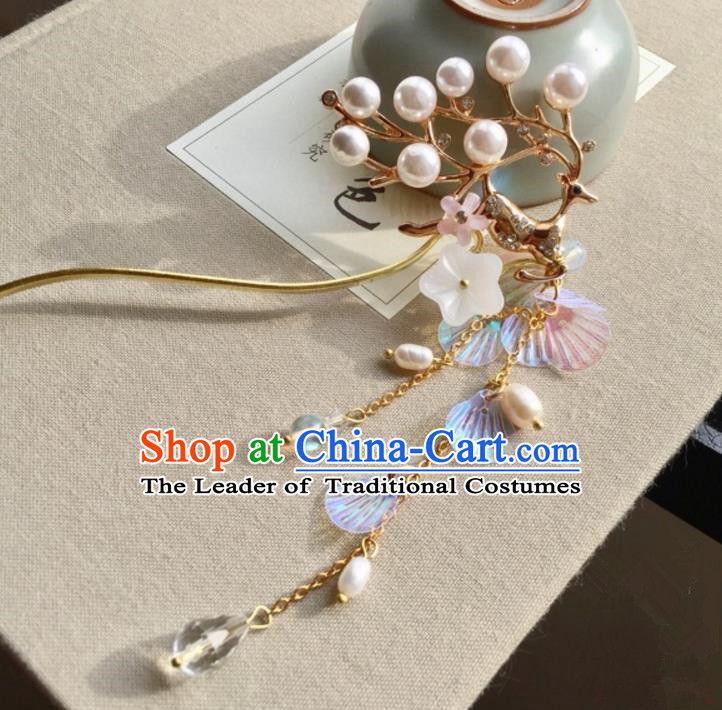 Chinese Traditional Hair Accessories Ancient Hanfu Tassel Hairpins for Women