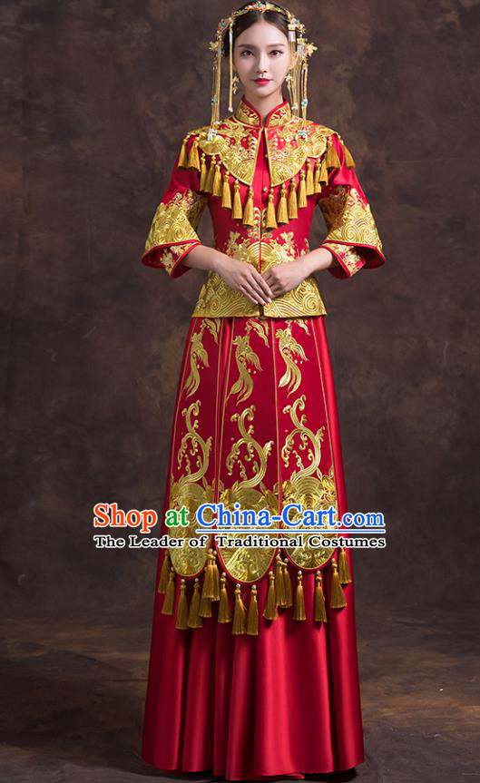 Traditional Chinese Female Wedding Red Costumes Ancient Embroidered Bottom Drawer XiuHe Suit for Bride