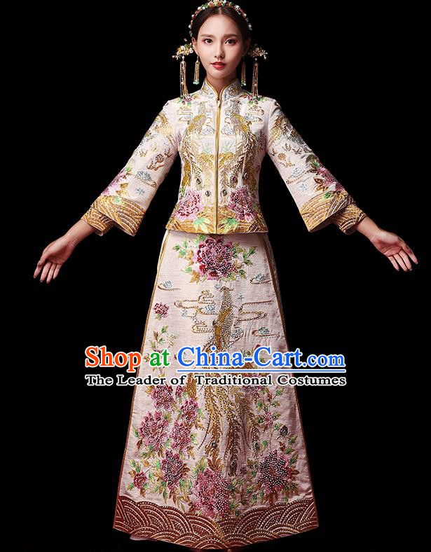 Traditional Chinese Style Female Wedding Costumes Ancient Embroidered Full Dress White XiuHe Suit for Bride