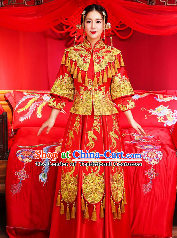 Traditional Chinese Female Wedding Costumes Ancient Embroidered Red Bottom Drawer XiuHe Suit for Bride