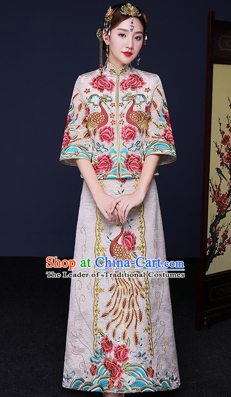 Traditional Chinese Female Wedding Costumes Ancient Embroidered Phoenix Peony Bottom Drawer XiuHe Suit for Bride