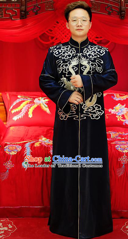 Traditional Ancient Chinese Wedding Navy Costumes Bridegroom Embroidered Tang Suit for Men