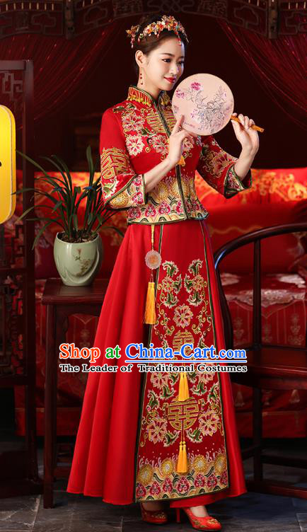 Chinese Ancient Embroidered Wedding Costumes Bride Red Formal Dresses XiuHe Suit for Women