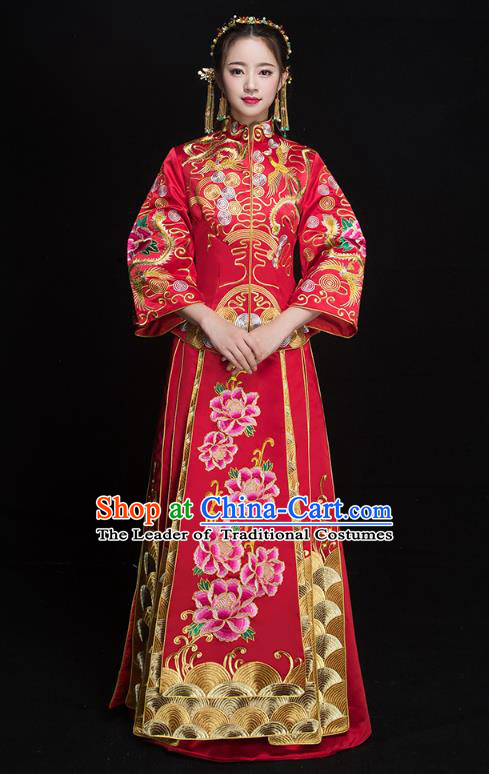Chinese Ancient Embroidered Peony Wedding Costumes Bride Formal Dresses Red XiuHe Suit for Women