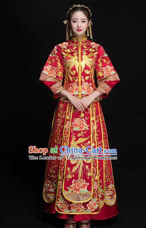 Chinese Ancient Wedding Costumes Bride Formal Dresses Embroidered Phoenix Peony Red XiuHe Suit for Women